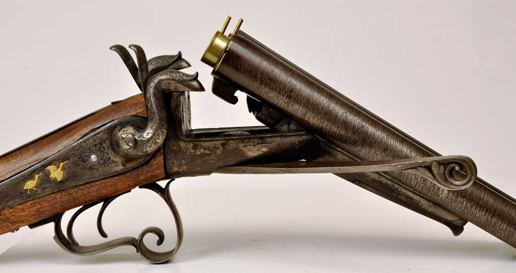 Belgialainen 16 kaliiperin piikkisytytyshaulikko, valmistettu noin 1870–1880.